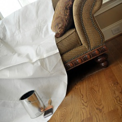 paper/poly drop cloth on couch