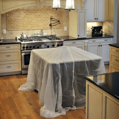 stay put vinyl drop cloth on counter